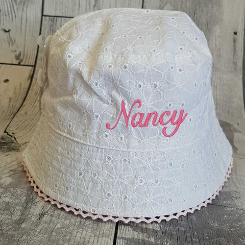 Personalised Baby Girl  Sun Hat -White