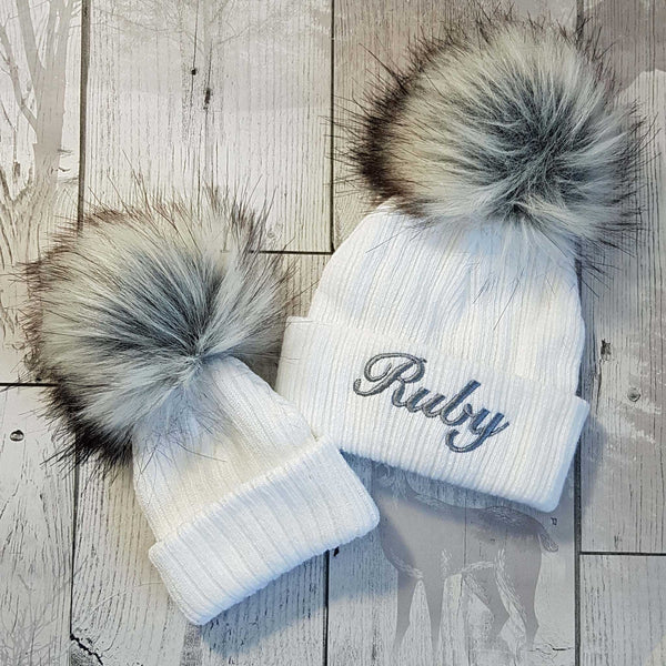 baby white newborn faux fur toddler infant personalised pom