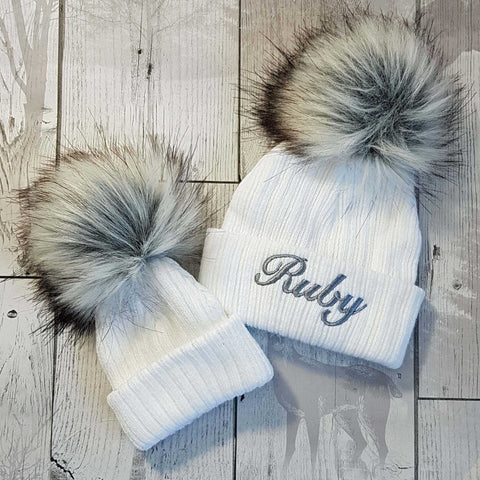 *SALE* Baby Girl Big Pompom Hats with Big Bow//Cream// 0-3 Months to 2 Years