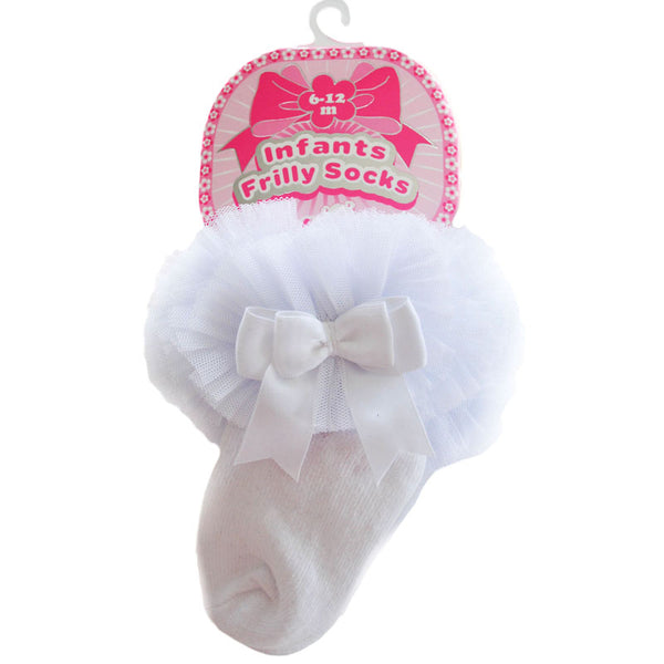 baby girl frilly gypsy romany lacey ankle socks white