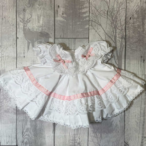 Baby Girl Frilly Puffball Dress with Pink Rosebuds