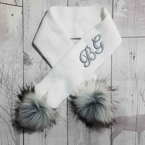 personalised white scarf