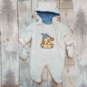 Baby Snowsuit with Mittens- White