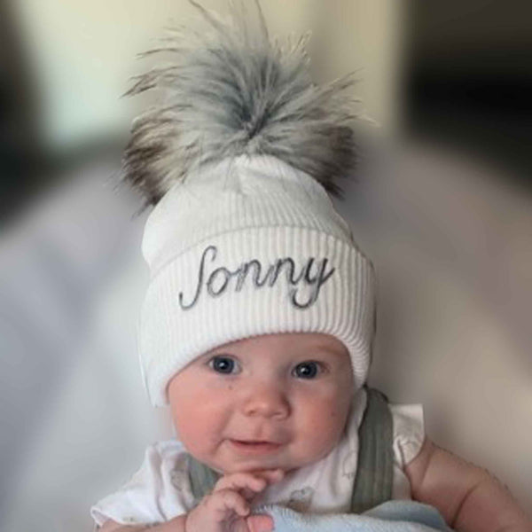 baby white fur pom hat can be personalised