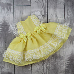 Baby Girl Lemon Yellow Frilly  Dress with Bows and Lace