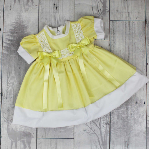 Baby Girl  Lemon Yellow Summer Dress with Bows
