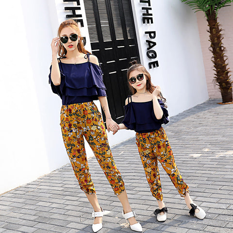 Matching mother and daughter Out of Shoulder Tops + Print Pants
