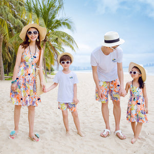 Floral Print Beach Family Clothes Set