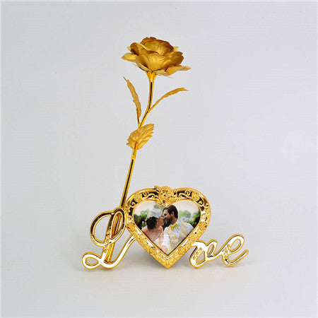 Gold  Plated Rose  With Love Stand Frame