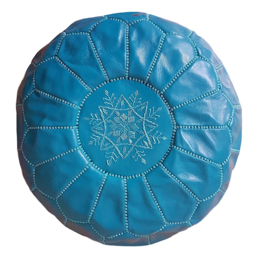 TURQUOISE LEATHER POUF