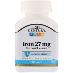 21st Century Iron 27 MG, 110 Tablets