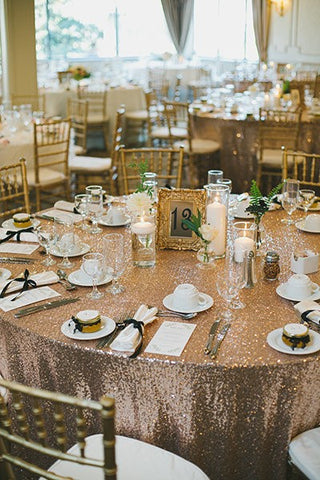 how to have a cheap wedding - sequin tablecloth and centerpiece