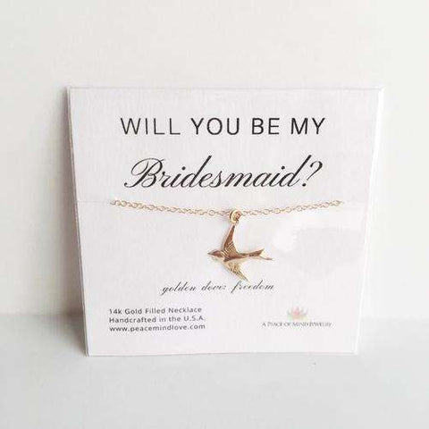 Will you Be My Bridesmaid? 14k Gold Filled Dove - Event Supply Shop