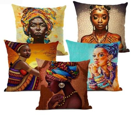 Fashion African Lady Cushion Cover