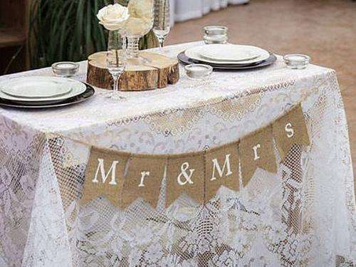 Mr & Mrs Burlap Banner - Event Supply Shop