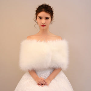 Winter Bridal Faux Fur Shawl
