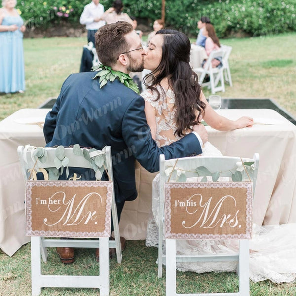 Mr. & Mrs. Wedding Chair Signs