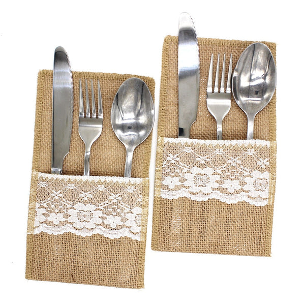Burlap Linen lace Cutlery Pouch for Rustic Wedding and other Events