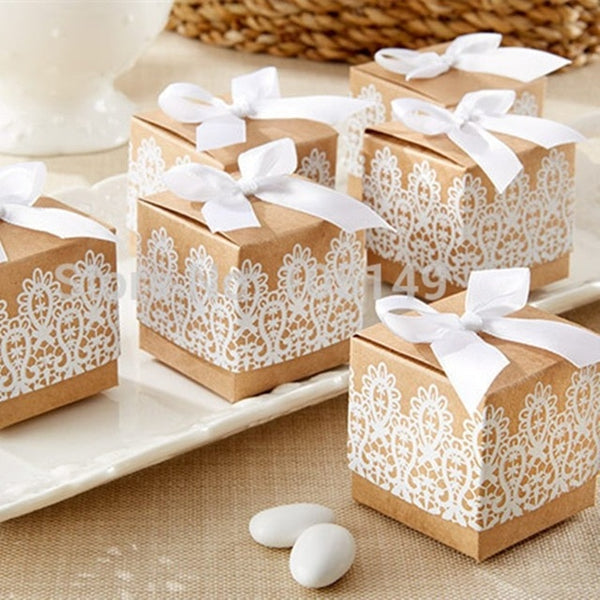 Candy/Gift Favor Boxes with Ribbon and Lace Craft