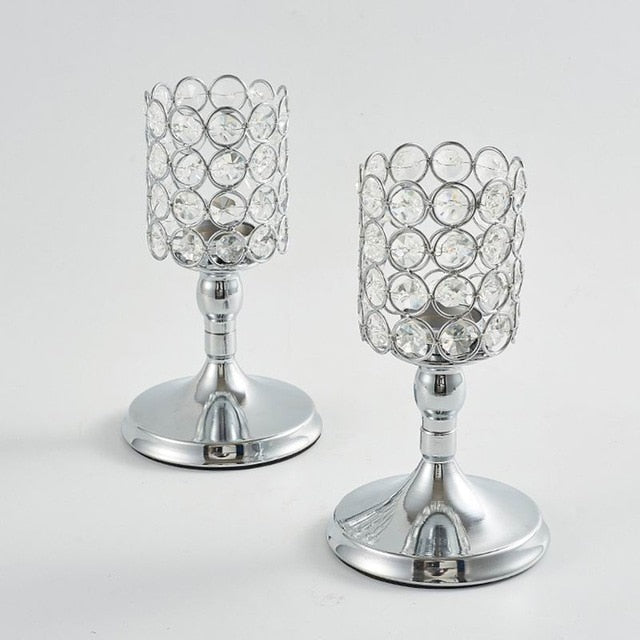Gold/Silver Votive Candle Holders Crystal