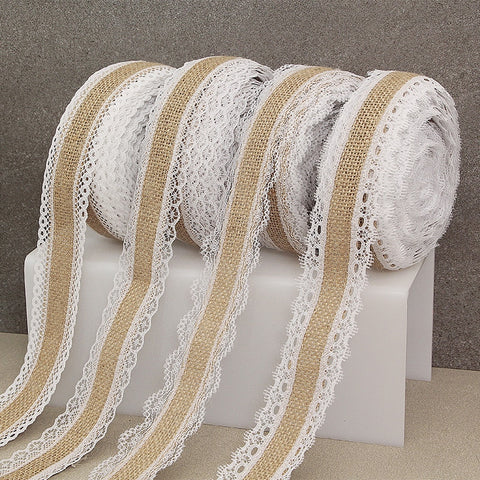 Burlap Hessian Ribbon with Lace Trim