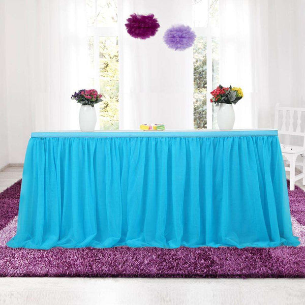 Tulle Table Skirt White Rose Blush or Blue - Event Supply Shop