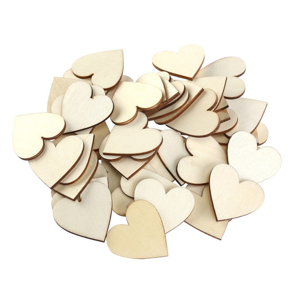 50 Blank Heart Wood Pieces - Event Supply Shop