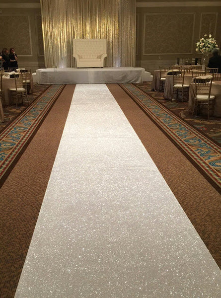 Hand Stitched White Sequin Aisle Runner - Event Supply Shop