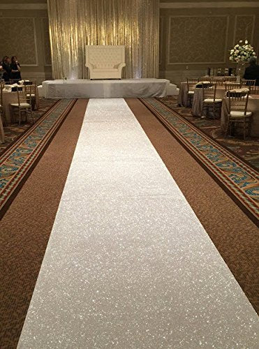 Hand Sewn Glitter Sequin Aisle Runner 4ftx25ft - Event Supply Shop