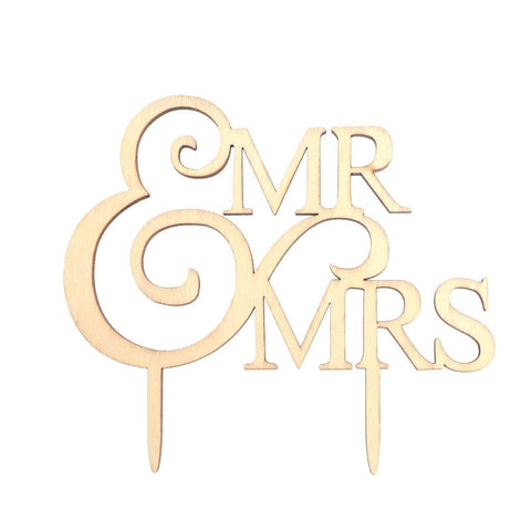 Mr & Mrs Cake Topper (Wood) - Event Supply Shop