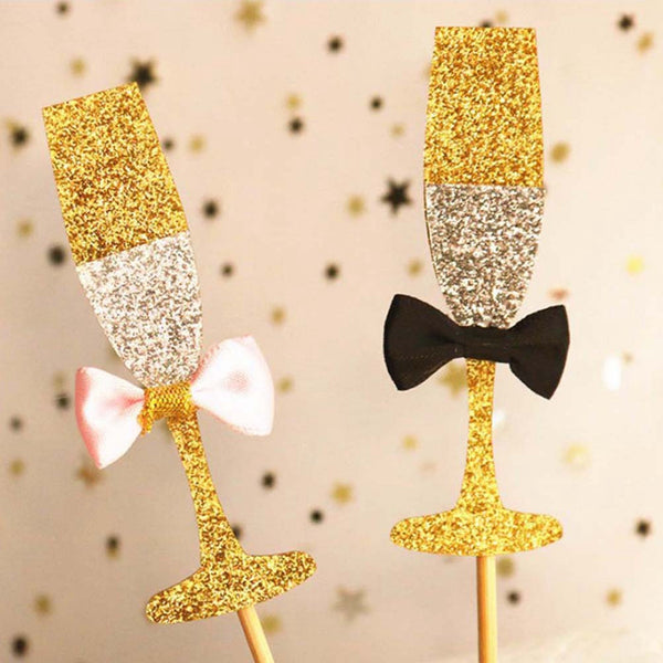 Champagne Wine Glass Cake Toppers 20 count