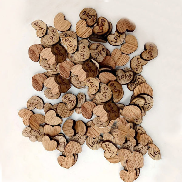 100 Wood Heart Pieces