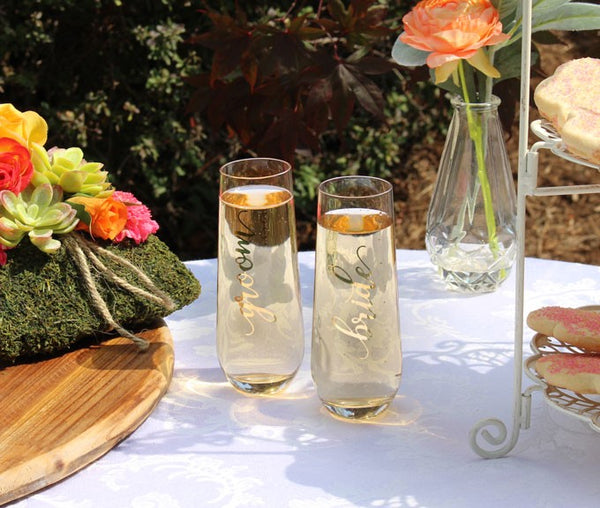 Groom Stemless Champagne Glass