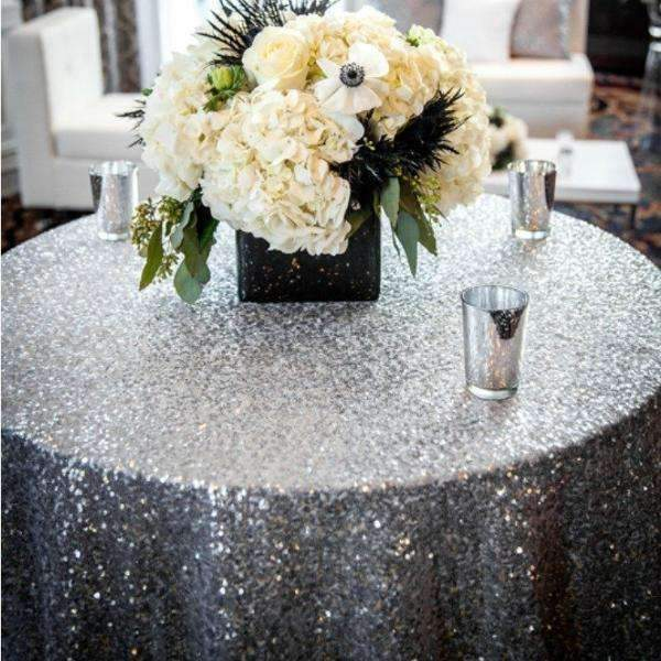 Brilliance Silver Sequins Fabric Backdrop or Tablecloth - Event Supply Shop