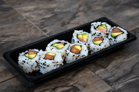 Salmon Avocado Uramaki (Salmon, Avocado, Sesame Seeds, Rice, Nori)
