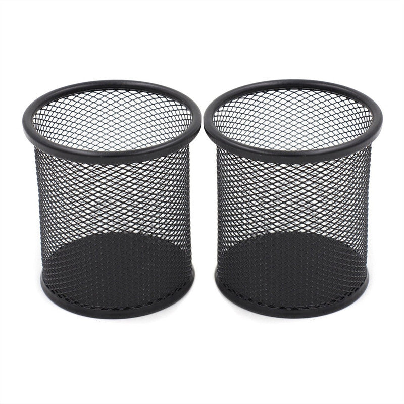 2pcs Generic Round Shaped Mesh Metal Pencil Holder Brush Pot Pen Container Set