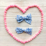 Mae - Vintage Blue Gingham Swiss Dot Bow