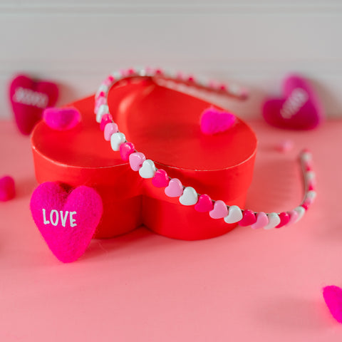 Heart Headband - Fuchsia, Pink and White Heart