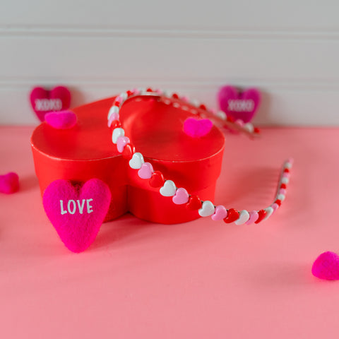 Heart Headband - Red, Pink and White Heart