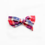 Betsy - Red, White and Blue Plaid Bow