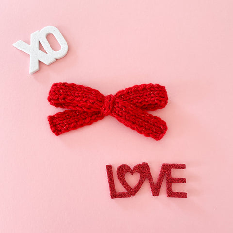 Valentine's Red Sparkle Bow - Knitted Bow