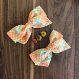 Polly - Vintage Flocked Orange and Blue Bow