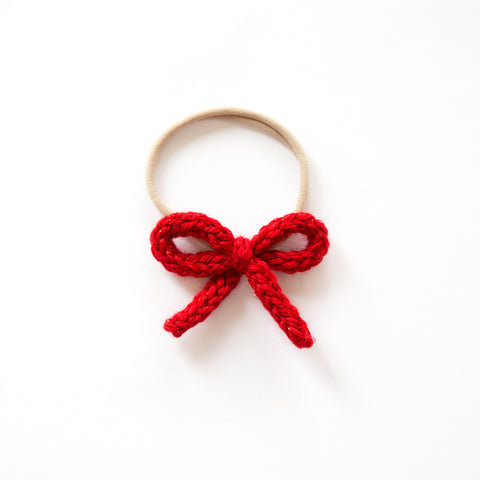 Hand-tied Crochet Bow - Ruby Red