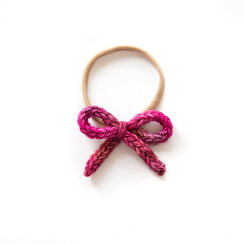 Hand-tied Crochet Bow - English Rose