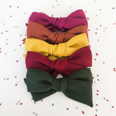 Jane Linen Bows - Holiday Collection