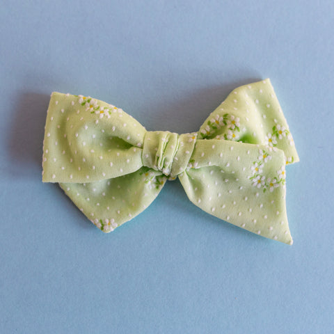 Paisley - Vintage Flocked Mint Floral Knotty Bow