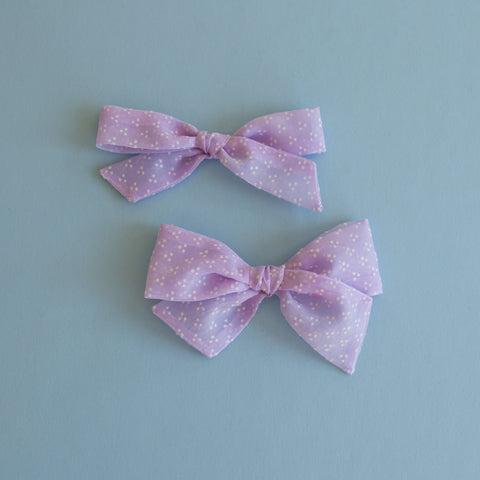 Brylie - Vintage Sheer Flocked Dots Bow