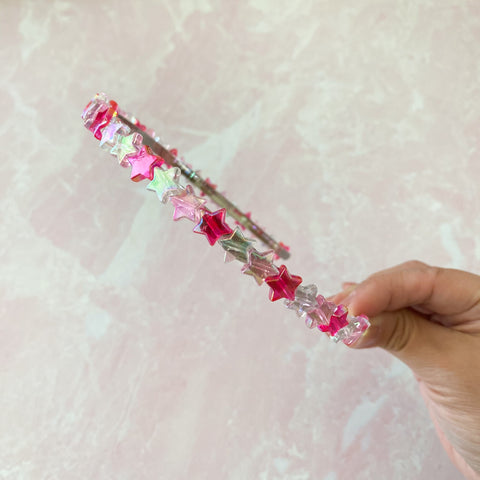 Iridescent Star Headband - Hot Pink, Pink and White