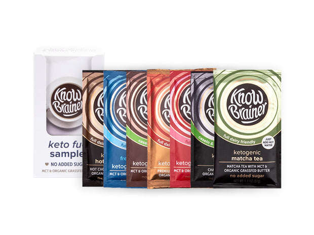 A sampler pack, includes 3 keto creamers and 4 keto instants. Each packet includes a full serving of nonGMO MCT oil and grassfed ghee to fuel your mind and metabolism with fat, not sugar.