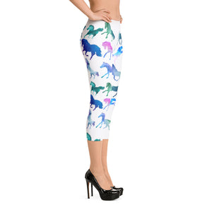Rainbow Horses Yoga Capri Leggings